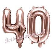 Zahlen-Luftballons aus Folie, Zahl 40 zum 40. Geburtstag und Jubiläum, Rosegold, 35 cm