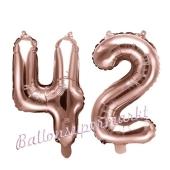 Zahlen-Luftballons aus Folie, Zahl 42 zum 42. Geburtstag und Jubiläum, Rosegold, 35 cm
