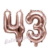 Zahlen-Luftballons aus Folie, Zahl 43 zum 43. Geburtstag und Jubiläum, Rosegold, 35 cm