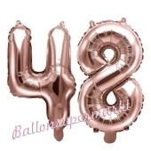 Zahlen-Luftballons aus Folie, Zahl 48 zum 48. Geburtstag und Jubiläum, Rosegold, 35 cm