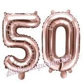 Zahlen-Luftballons aus Folie, Zahl 50 zum 50. Geburtstag und Jubiläum, Rosegold, 35 cm