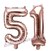 Zahlen-Luftballons aus Folie, Zahl 51 zum 51. Geburtstag und Jubiläum, Rosegold, 35 cm