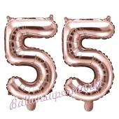 Zahlen-Luftballons aus Folie, Zahl 55 zum 55. Geburtstag und Jubiläum, Rosegold, 35 cm