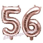 Zahlen-Luftballons aus Folie, Zahl 56 zum 56. Geburtstag und Jubiläum, Rosegold, 35 cm