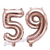 Zahlen-Luftballons aus Folie, Zahl 59 zum 59. Geburtstag und Jubiläum, Rosegold, 35 cm