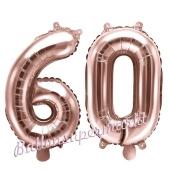 Zahlen-Luftballons aus Folie, Zahl 60 zum 60. Geburtstag und Jubiläum, Rosegold, 35 cm