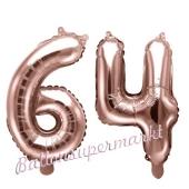 Zahlen-Luftballons aus Folie, Zahl 64 zum 64. Geburtstag und Jubiläum, Rosegold, 35 cm