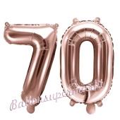 Zahlen-Luftballons aus Folie, Zahl 70 zum 70. Geburtstag und Jubiläum, Rosegold, 35 cm