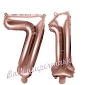 Zahlen-Luftballons aus Folie, Zahl 71 zum 71. Geburtstag und Jubiläum, Rosegold, 35 cm