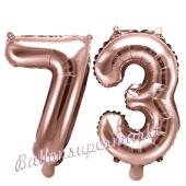 Zahlen-Luftballons aus Folie, Zahl 73 zum 73. Geburtstag und Jubiläum, Rosegold, 35 cm