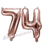 Zahlen-Luftballons aus Folie, Zahl 74 zum 74. Geburtstag und Jubiläum, Rosegold, 35 cm
