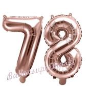 Zahlen-Luftballons aus Folie, Zahl 78 zum 78. Geburtstag und Jubiläum, Rosegold, 35 cm