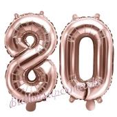 Zahlen-Luftballons aus Folie, Zahl 80 zum 80. Geburtstag und Jubiläum, Rosegold, 35 cm