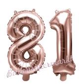 Zahlen-Luftballons aus Folie, Zahl 81 zum 81.Geburtstag und Jubiläum, Rosegold, 35 cm