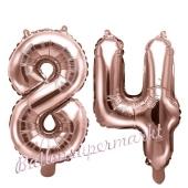 Zahlen-Luftballons aus Folie, Zahl 84 zum 84.Geburtstag und Jubiläum, Rosegold, 35 cm