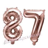 Zahlen-Luftballons aus Folie, Zahl 87 zum 87.Geburtstag und Jubiläum, Rosegold, 35 cm