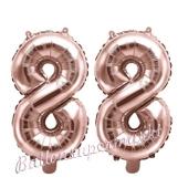 Zahlen-Luftballons aus Folie, Zahl 88 zum 88.Geburtstag und Jubiläum, Rosegold, 35 cm