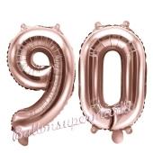 Zahlen-Luftballons aus Folie, Zahl 90 zum 90. Geburtstag und Jubiläum, Rosegold, 35 cm
