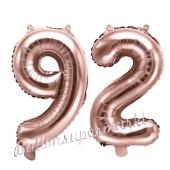 Zahlen-Luftballons aus Folie, Zahl 92 zum 92.Geburtstag und Jubiläum, Rosegold, 35 cm