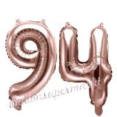 Zahlen-Luftballons aus Folie, Zahl 94 zum 94.Geburtstag und Jubiläum, Rosegold, 35 cm