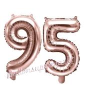Zahlen-Luftballons aus Folie, Zahl 95 zum 95.Geburtstag und Jubiläum, Rosegold, 35 cm