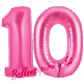 Zahl 10 Pink, Luftballons aus Folie zum 10. Geburtstag, 100 cm, inklusive Helium