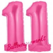 Zahl 11 Pink, Luftballons aus Folie zum 11. Geburtstag, 100 cm, inklusive Helium