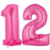 Zahl 12 Pink, Luftballons aus Folie zum 12. Geburtstag, 100 cm, inklusive Helium