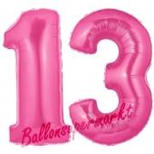 Zahl 13 Pink, Luftballons aus Folie zum 13. Geburtstag, 100 cm, inklusive Helium