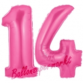 Zahl 14 Pink, Luftballons aus Folie zum 14. Geburtstag, 100 cm, inklusive Helium