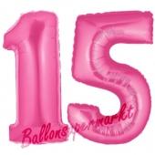 Zahl 15 Pink, Luftballons aus Folie zum 15. Geburtstag, 100 cm, inklusive Helium