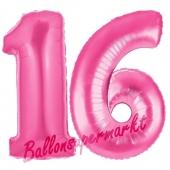Zahl 16, Pink, Luftballons aus Folie zum 16. Geburtstag, 100 cm, inklusive Helium