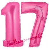 Zahl 17 Pink, Luftballons aus Folie zum 17. Geburtstag, 100 cm, inklusive Helium