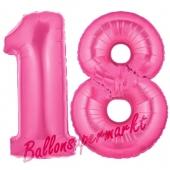 Zahl 18, Pink, Luftballons aus Folie zum 18. Geburtstag, 100 cm, inklusive Helium