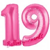 Zahl 19 Pink, Luftballons aus Folie zum 19. Geburtstag, 100 cm, inklusive Helium