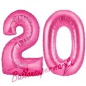 Zahl 20 Pink, Luftballons aus Folie zum 20. Geburtstag, 100 cm, inklusive Helium