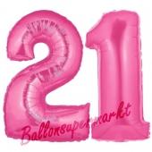 Zahl 21 Pink, Luftballons aus Folie zum 21. Geburtstag, 100 cm, inklusive Helium