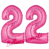 Zahl 22 Pink, Luftballons aus Folie zum 22. Geburtstag, 100 cm, inklusive Helium