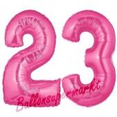 Zahl 23 Pink, Luftballons aus Folie zum 23. Geburtstag, 100 cm, inklusive Helium