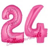 Zahl 24 Pink, Luftballons aus Folie zum 24. Geburtstag, 100 cm, inklusive Helium