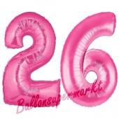 Zahl 26, Pink, Luftballons aus Folie zum 26. Geburtstag, 100 cm, inklusive Helium