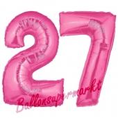 Zahl 27, Pink, Luftballons aus Folie zum 27. Geburtstag, 100 cm, inklusive Helium