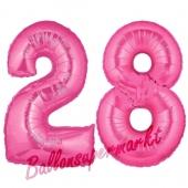 Zahl 28, Pink, Luftballons aus Folie zum 28. Geburtstag, 100 cm, inklusive Helium