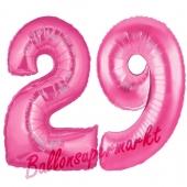 Zahl 29, Pink, Luftballons aus Folie zum 29. Geburtstag, 100 cm, inklusive Helium