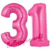 Zahl 31, Pink, Luftballons aus Folie zum 31. Geburtstag, 100 cm, inklusive Helium