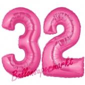 Zahl 32, Pink, Luftballons aus Folie zum 32. Geburtstag, 100 cm, inklusive Helium
