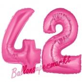 Zahl 42, Pink, Luftballons aus Folie zum 42. Geburtstag, 100 cm, inklusive Helium