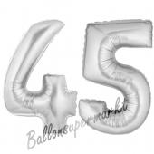 Zahl 45, Silber, Luftballons aus Folie zum 45. Geburtstag, 100 cm, inklusive Helium
