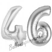 Zahl 46, Silber, Luftballons aus Folie zum 46. Geburtstag, 100 cm, inklusive Helium