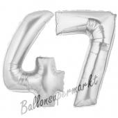 Zahl 47, Silber, Luftballons aus Folie zum 47. Geburtstag, 100 cm, inklusive Helium